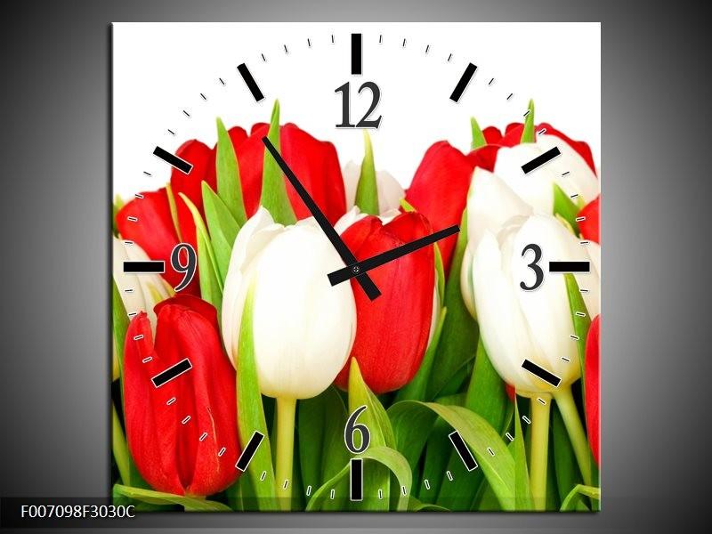 Wandklok Schilderij Tulpen, Bloemen | Rood, Wit, Groen