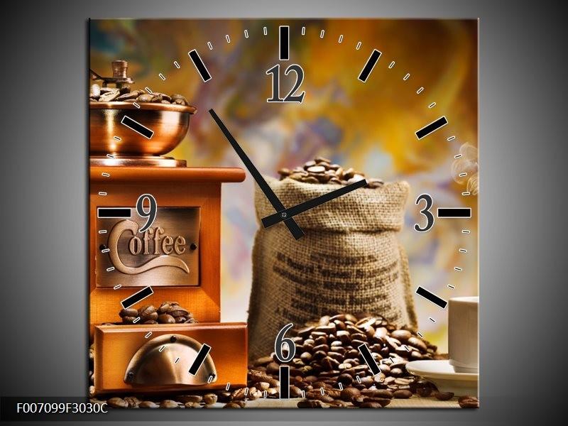 Wandklok Schilderij Koffie, Keuken | Bruin, Geel, Oranje