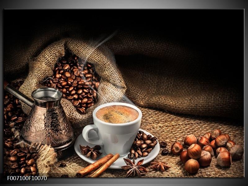 Canvas Schilderij Koffie, Keuken | Bruin, Geel, Wit