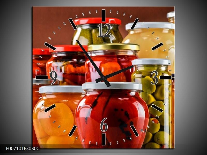 Wandklok Schilderij Keuken   Rood, Oranje, Geel