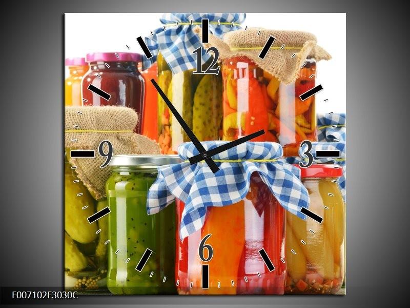 Wandklok Schilderij Keuken, Groenten | Wit, Rood, Groen