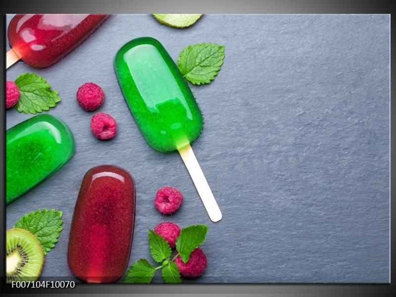 Canvas Schilderij Ijs, Fruit | Grijs, Rood, Groen