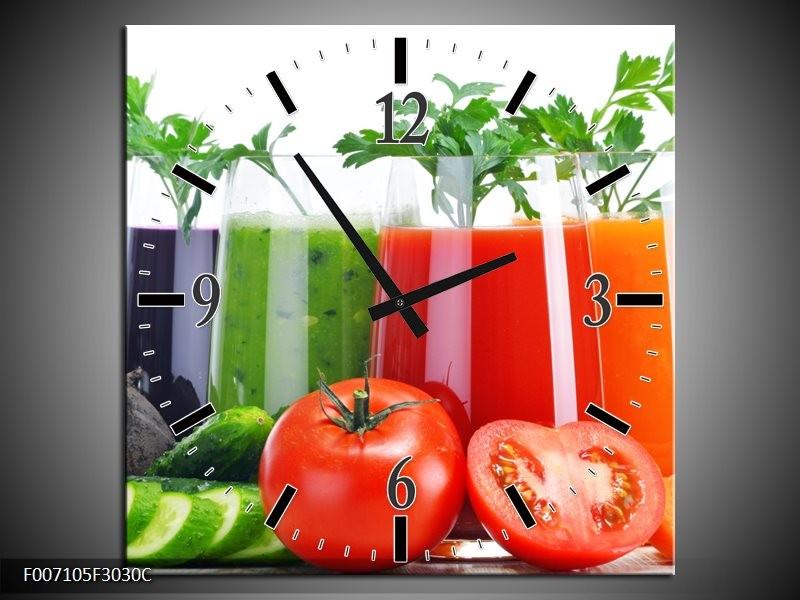 Wandklok Schilderij Groenten, Keuken | Wit, Oranje, Groen