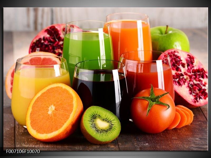 Canvas Schilderij Groenten, Fruit   Oranje, Geel, Groen