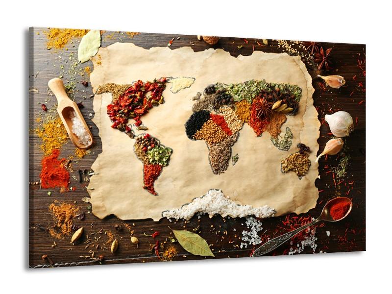Canvas Schilderij Kruiden, Wereldkaart | Bruin, Crème | 140x90cm 1Luik