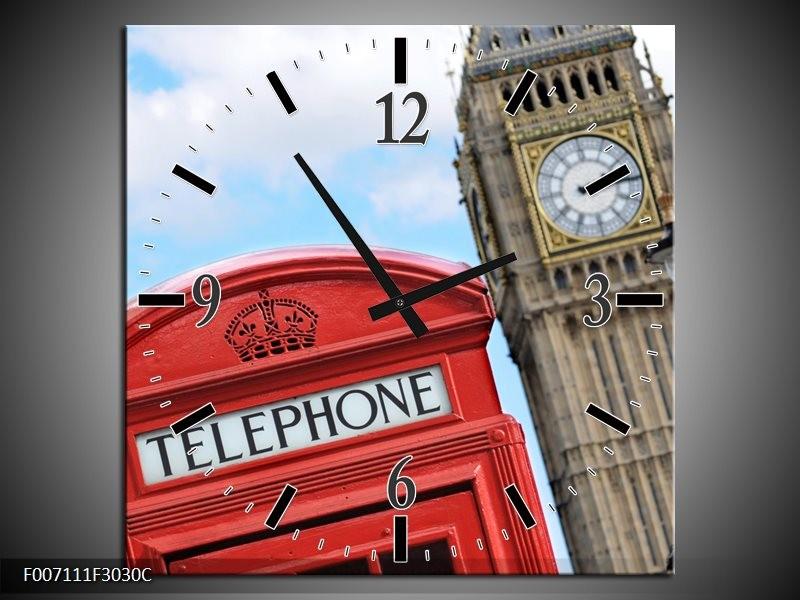 Wandklok Schilderij England, London | Blauw, Rood, Grijs