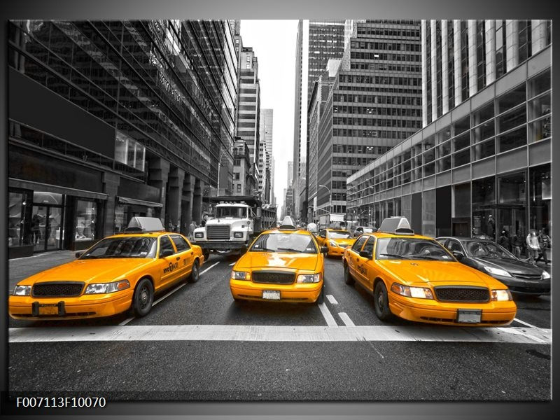 Canvas Schilderij New York, Auto   Geel, Zwart, Wit