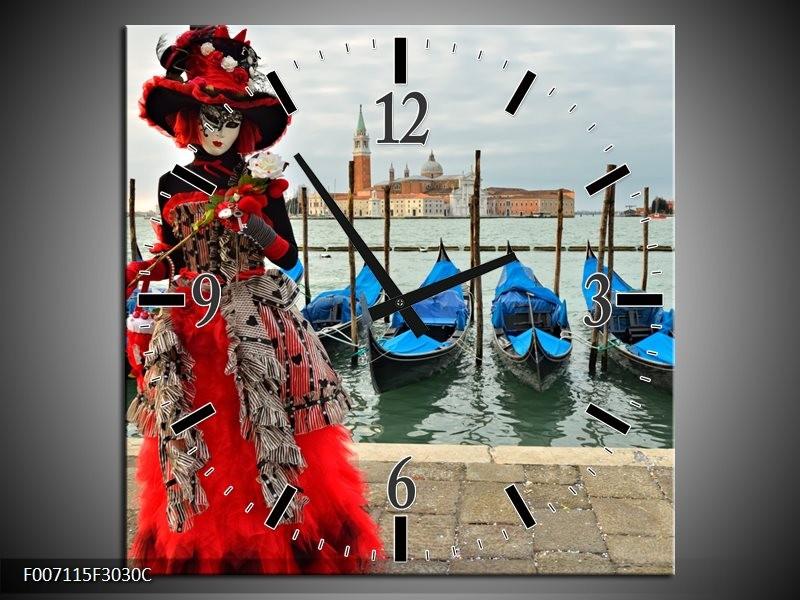 Wandklok Schilderij Venetie, Masker | Rood, Blauw, Grijs
