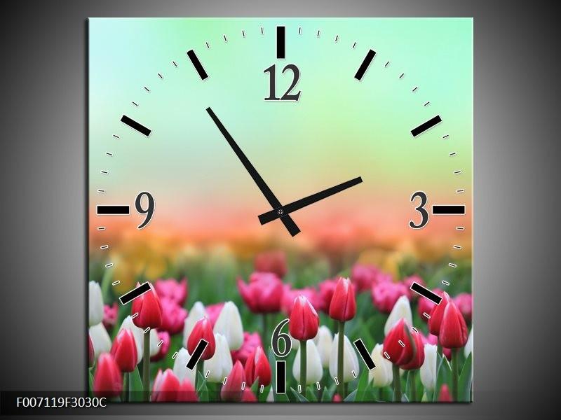 Wandklok Schilderij Tulpen, Bloemen | Groen, Roze, Wit