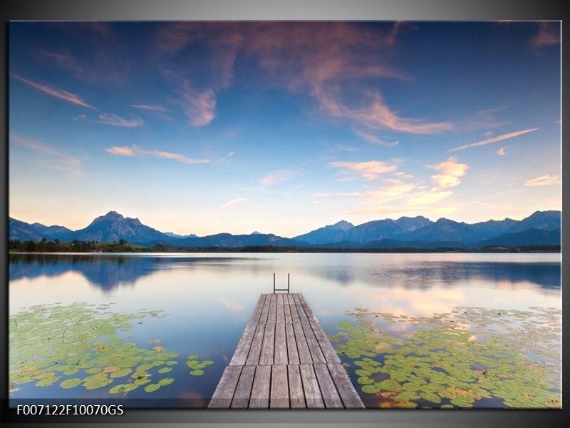 Glas schilderij natuur bergen blauw grijs groen for Schilderij natuur