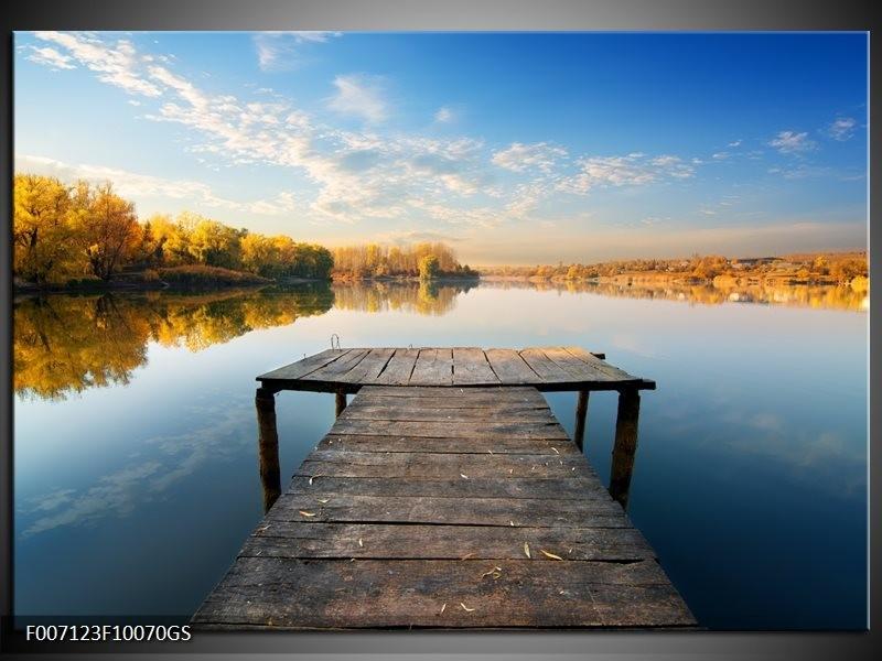Glas schilderij natuur water blauw bruin grijs for Schilderij natuur