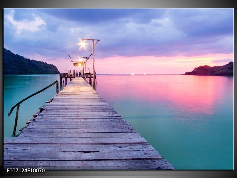 Canvas Schilderij Natuur, Water   Paars, Roze, Blauw