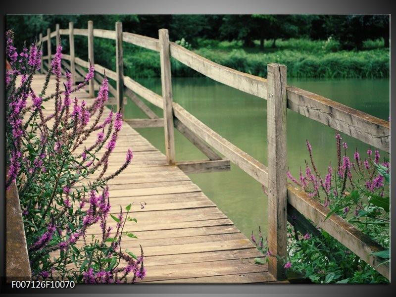 Canvas Schilderij Natuur, Brug | Groen, Paars, Grijs