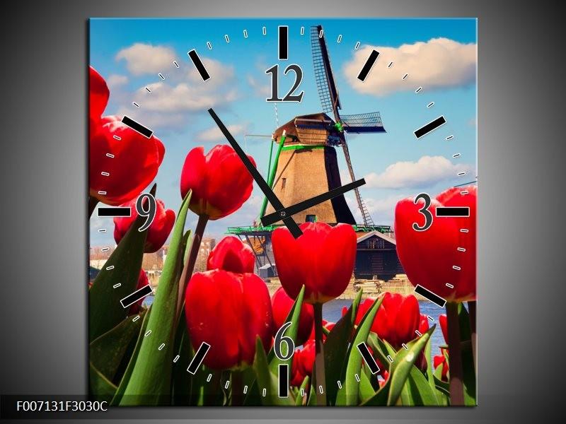 Wandklok Schilderij Tulpen, Molen | Rood, Blauw, Grijs