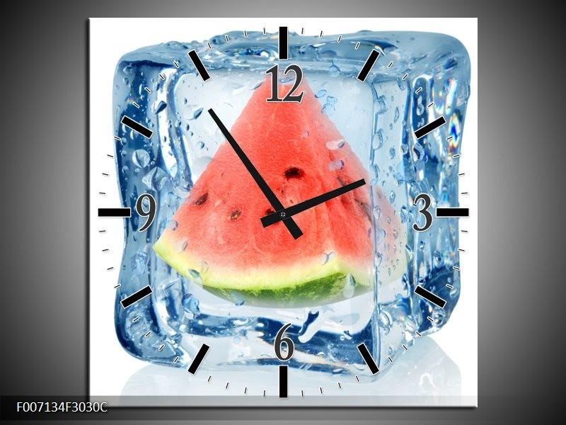 Wandklok Schilderij Fruit, Keuken | Rood, Grijs, Blauw