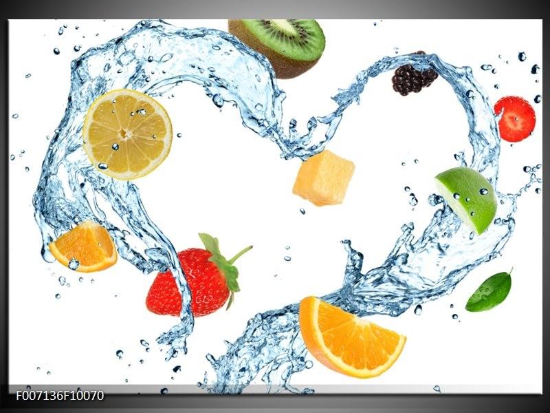 Canvas Schilderij Fruit, Keuken | Wit, Geel, Blauw