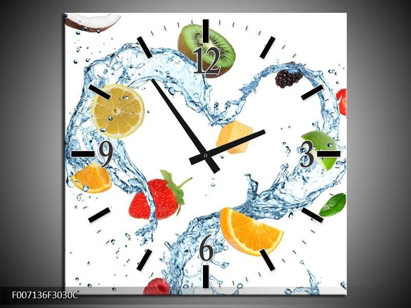 Wandklok Schilderij Fruit, Keuken | Wit, Geel, Blauw