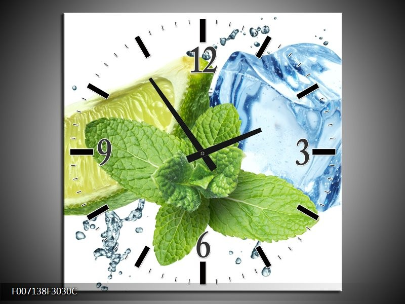 Wandklok Schilderij Munt, Keuken | Groen, Geel, Blauw