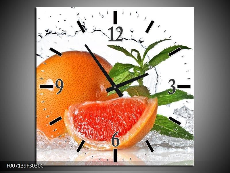 Wandklok Schilderij Fruit, Keuken   Oranje, Wit, Groen