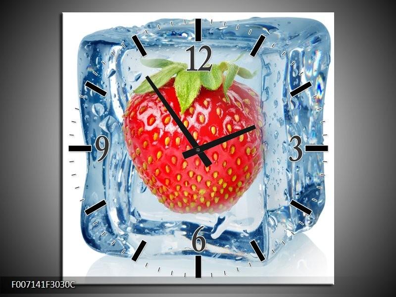 Wandklok Schilderij Fruit, Keuken | Rood, Blauw, Wit
