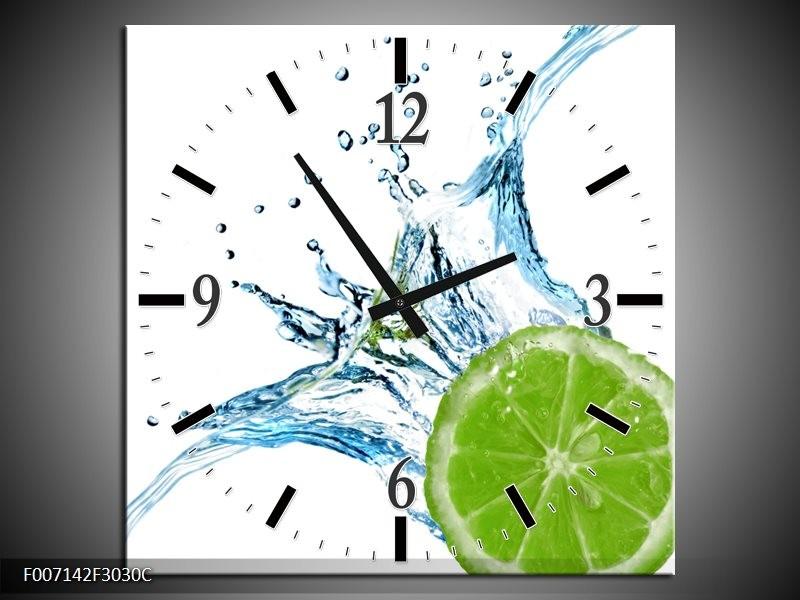 Wandklok Schilderij Fruit, Keuken | Groen, Blauw, Wit