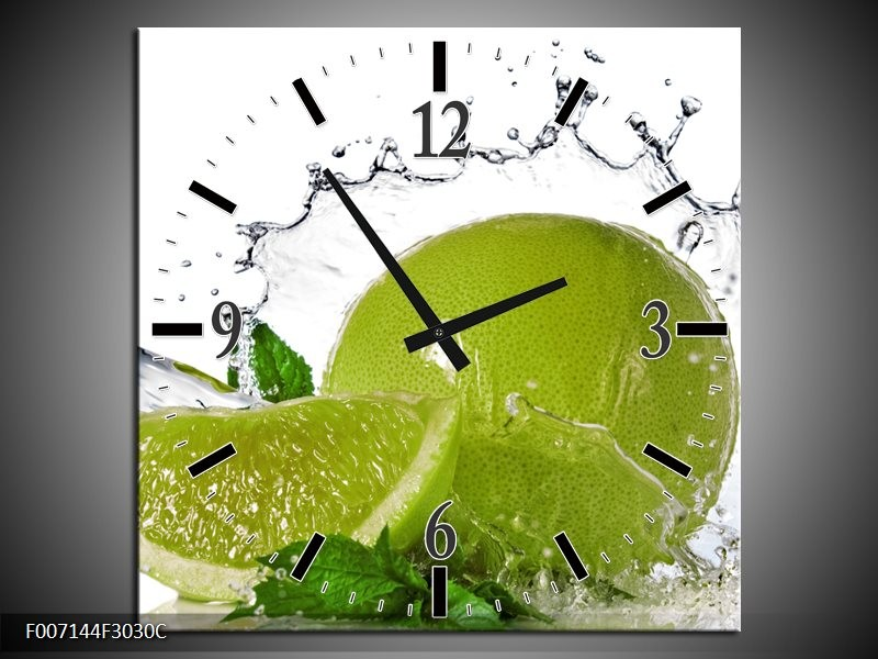 Wandklok Schilderij Fruit, Keuken | Groen, Wit, Zilver