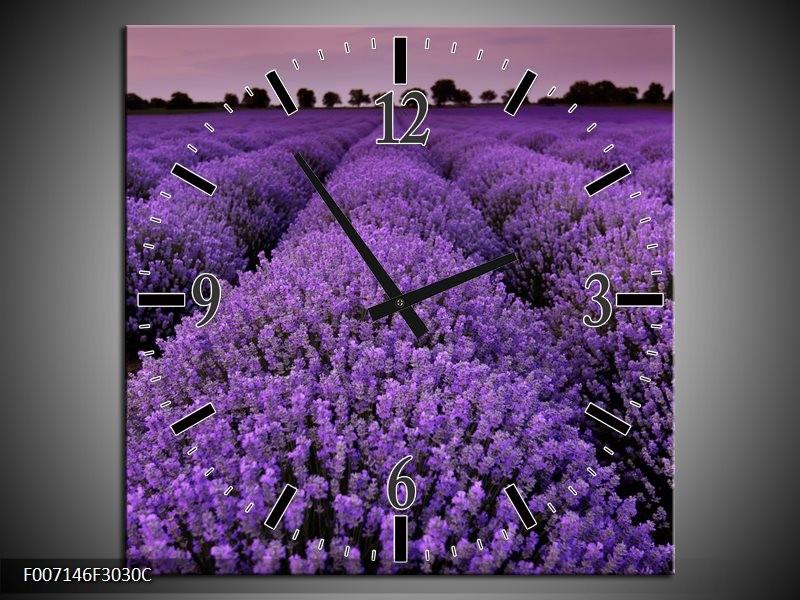 Wandklok Schilderij Lavendel, Landelijk | Paars