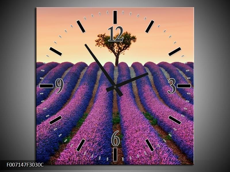 Wandklok Schilderij Lavendel, Landelijk | Paars, Crème