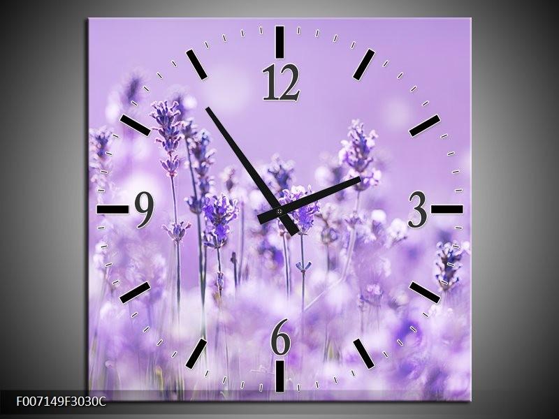 Wandklok Schilderij Lavendel, Landelijk | Paars, Wit