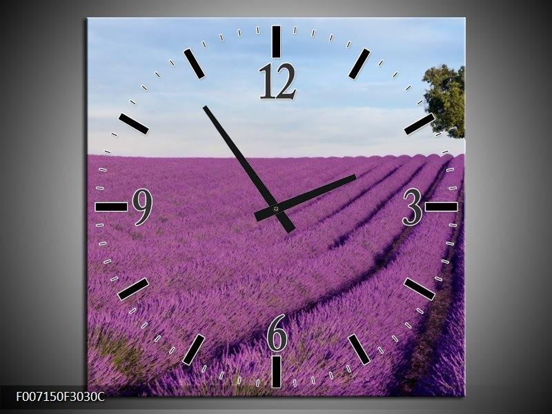 Wandklok Schilderij Lavendel, Landelijk | Paars, Blauw, Groen
