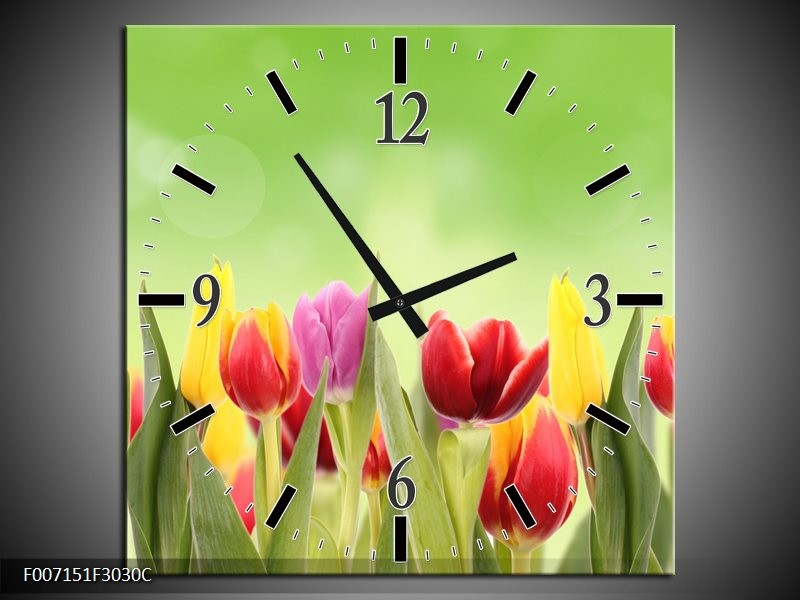 Wandklok Schilderij Tulpen, Bloemen | Groen, Rood, Geel
