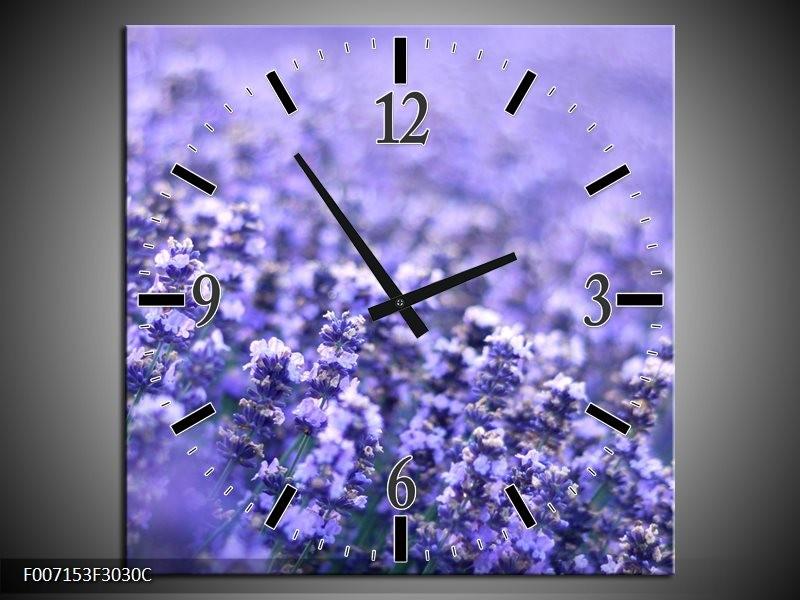 Wandklok Schilderij Lavendel, Landelijk | Paars, Blauw