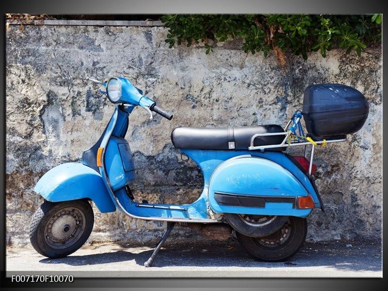 Canvas Schilderij Scooter, Motor   Grijs, Blauw