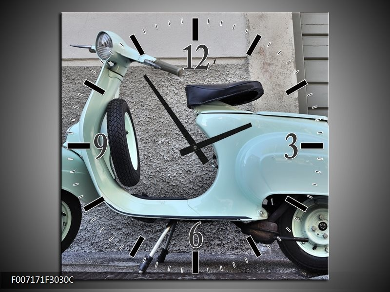 Wandklok Schilderij Scooter, Motor | Groen, Grijs