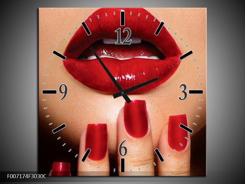 Wandklok Schilderij Vrouw, Lippen | Rood, Bruin