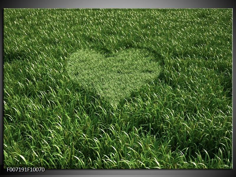 Canvas Schilderij Gras, Hart | Groen