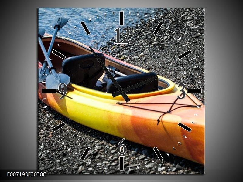 Wandklok Schilderij Kayak, Sport | Geel, Oranje, Grijs