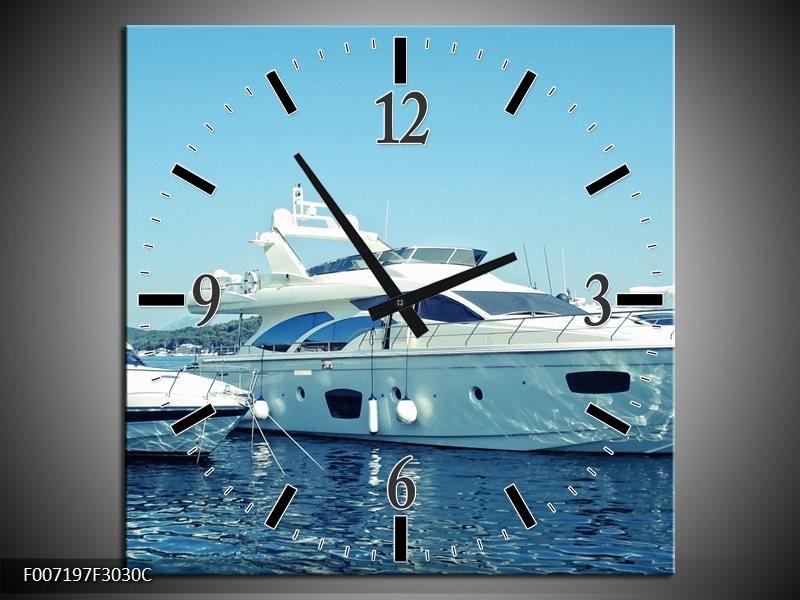 Wandklok Schilderij Boot, Water | Blauw, Grijs, Wit