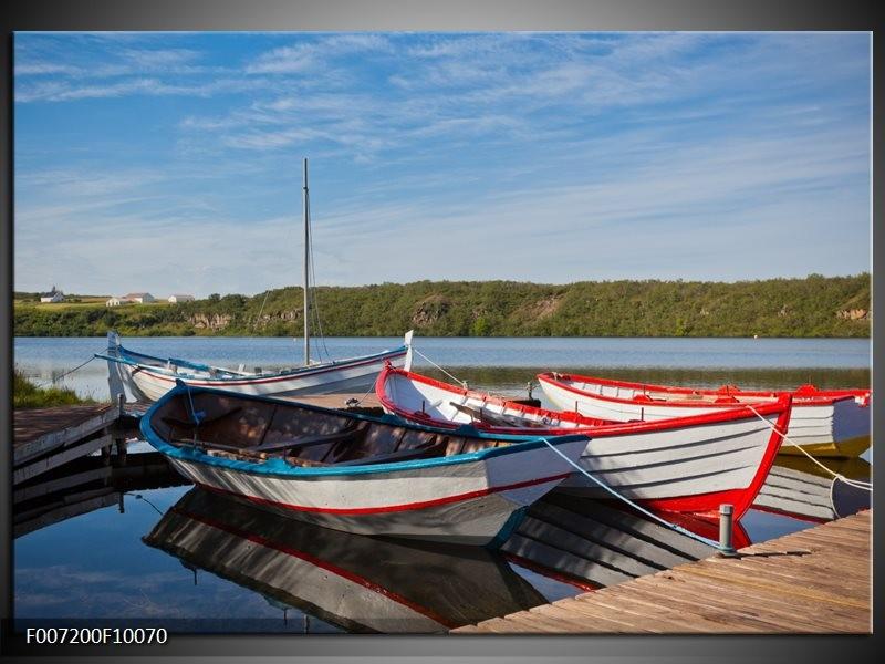Canvas Schilderij Boot, Natuur | Grijs, Rood, Blauw