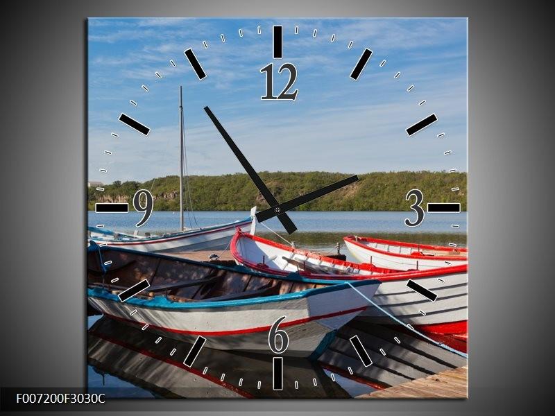 Wandklok Schilderij Boot, Natuur | Grijs, Rood, Blauw