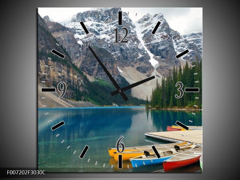 Wandklok Schilderij Boot, Natuur | Grijs, Blauw, Groen