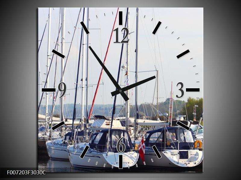 Wandklok Schilderij Boot | Grijs, Wit, Blauw