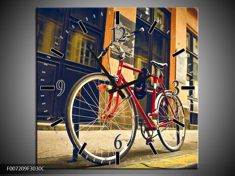 Wandklok Schilderij Fiets, Straat | Bruin, Rood, Geel