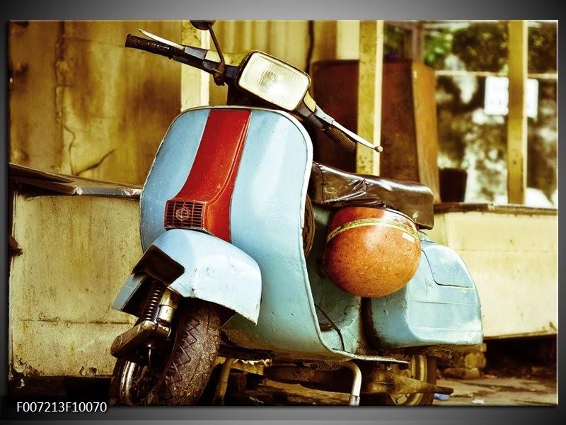 Canvas Schilderij Scooter, Motor | Bruin, Geel, Blauw