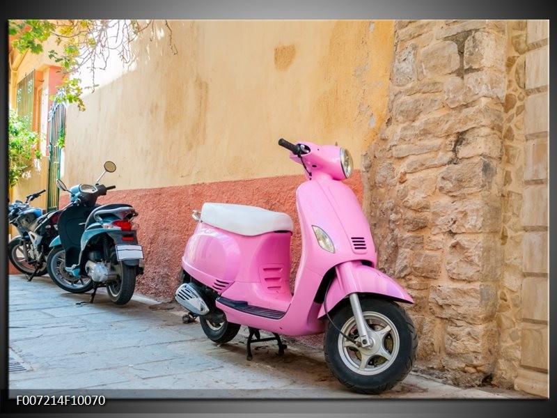 Canvas Schilderij Scooter, Motor | Bruin, Roze, Crème
