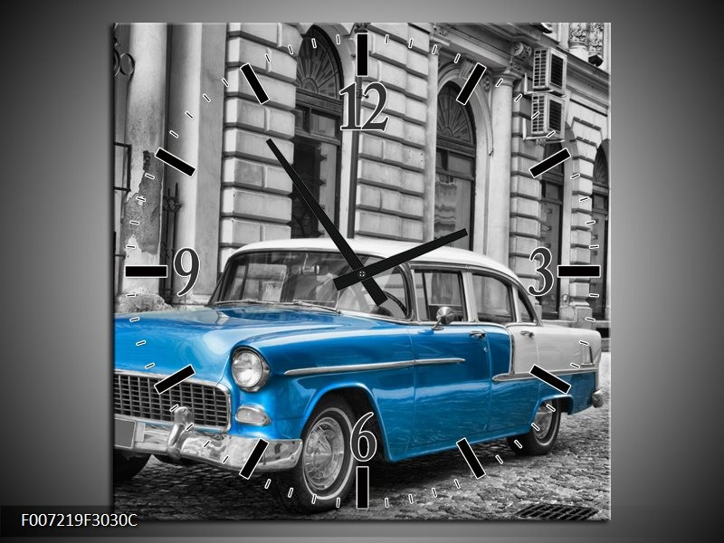 Wandklok Schilderij Oldtimer, Auto | Grijs, Blauw, Zwart
