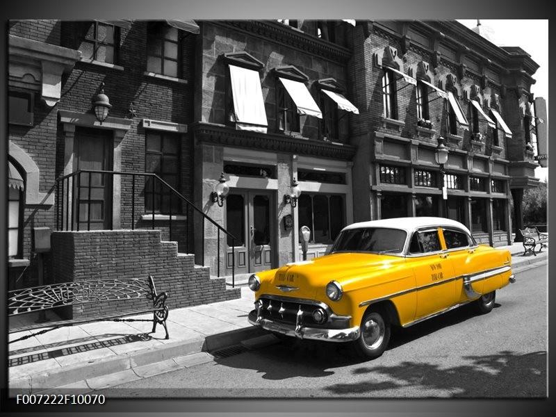 Canvas Schilderij Oldtimer, Auto   Zwart, Wit, Geel