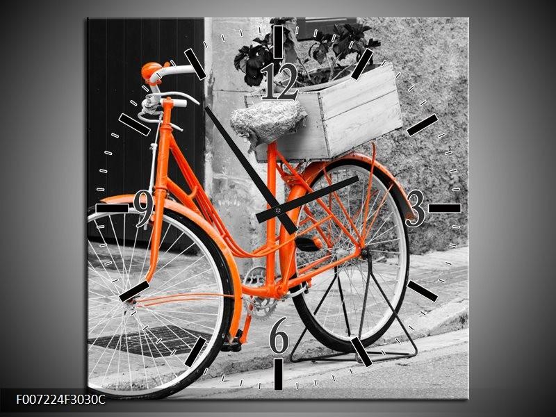 Wandklok Schilderij Fiets | Grijs, Oranje, Zwart