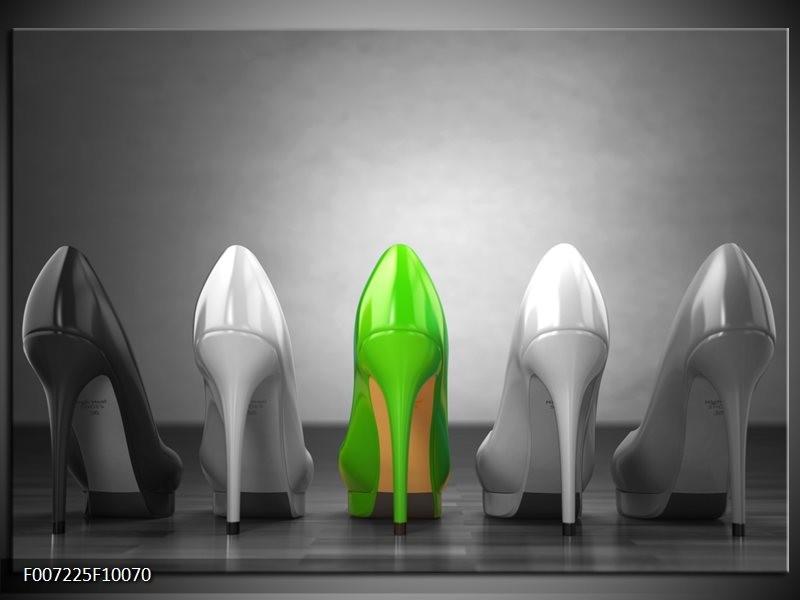 Canvas Schilderij Schoenen, Vrouw | Grijs, Groen, Zwart