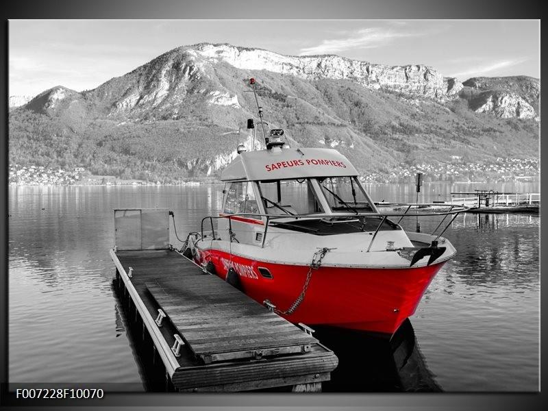 Canvas Schilderij Boot, Bergen | Zwart, Wit, Rood